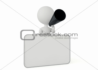 3d humanoid character with a blank card