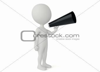 3d humanoid character hold a bullhorn