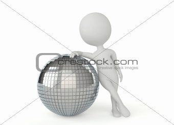 3d humanoid character with a disco ball