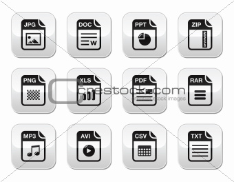 File type black icons on modern grey buttons set