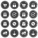 Shopping on internet retro badges - grunge style