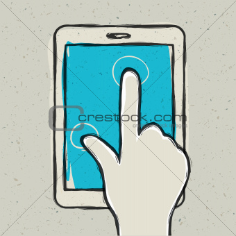 Abstract hand touching digital tablet. Vector illustration,