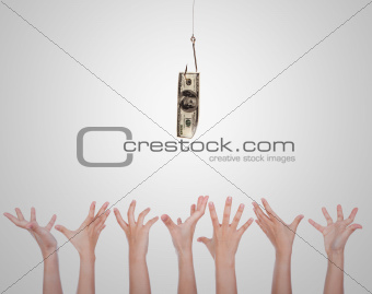 Group of Hands reaching Hundred dollars on fishing hook