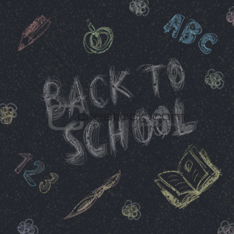 Back to school. Written by chalk on the asphalt background. Vect