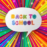 Back to school words in speech bubble on colorful rays. 