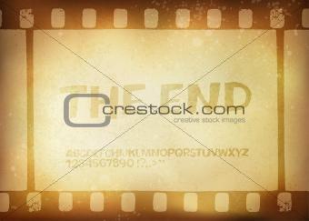 Old filmstrip. Movie ending frame.  Vector illustration, EPS10