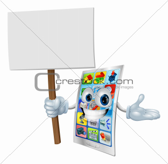 Cell phone cartoon character holding sign