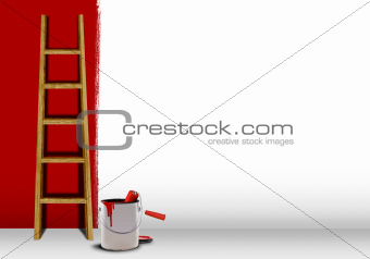 Wooden ladder with red paint half finish