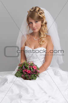 beautiful woman wearing wedding dress. Bride