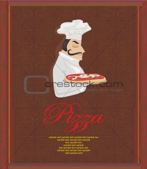 Pizza Menu Template with chef