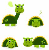 Cute green dinosaur set isolated on white