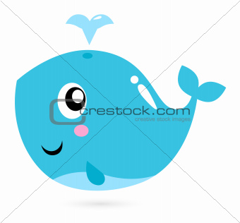 Blue cartoon whale isolated on white