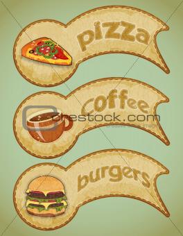 Retro fast food labels