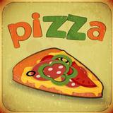 pizza retro label