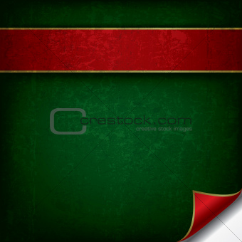 abstract grunge background with red ribbon