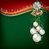 Christmas grunge background with white decorations on green