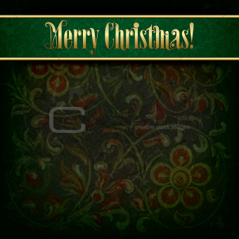 Abstract Christmas background with grunge floral ornament