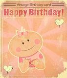 Retro Baby Girl birthday Card