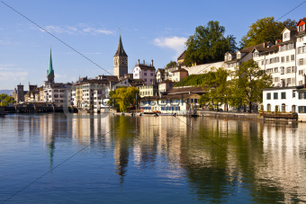 Zurich Reflections in Limmat River