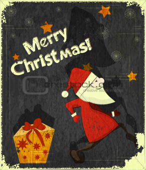Christmas cards with Santa Claus and Gift box