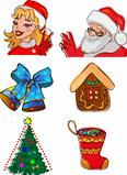 Christmas characters and gifts