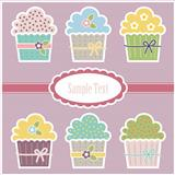 Vector greeting card with cupcakes