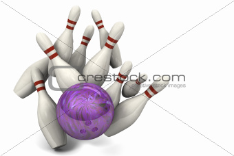 Bowling Ball Hitting Pins for a Strike