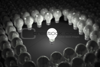 Light Bulb Standing Out