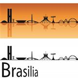 Brasilia skyline in orange background