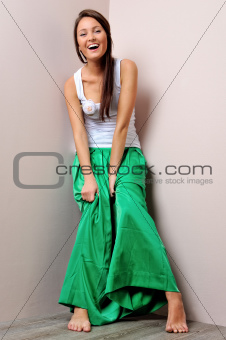 Beautiful woman in green skirt.