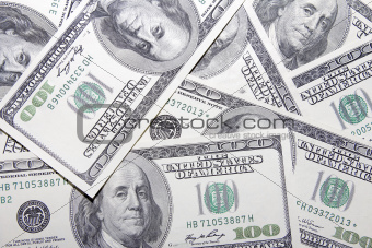 US One Hundred Dollar Banknotes Background