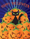 Halloween Cat with Pumpkins Illustration