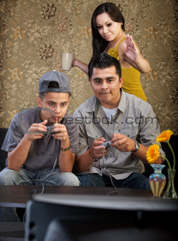 Funny Hispanic Family Playing Video Games