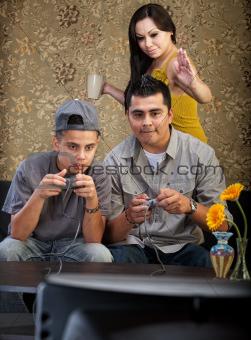 Funny Hispanic Family Playing Video Games