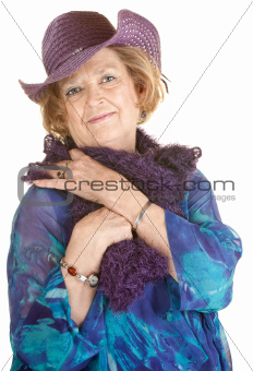 Cute Older Woman in Purple Hat