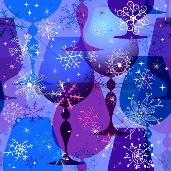 Christmas blue-violet seamless pattern