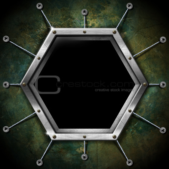 Hexagonal Frame on the Grunge Wall