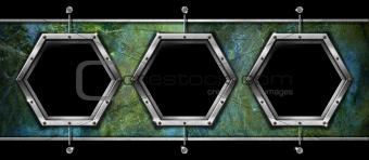 Three Hexagonal Metal Frames on a Grunge Wall
