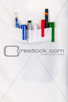 White Shirt With Pens In Pocket