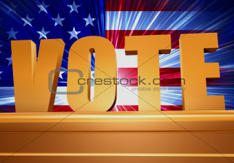 golden vote on pedestal