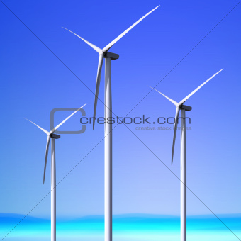 white wind turbines