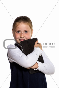 The little girl with the tablet on a white background
