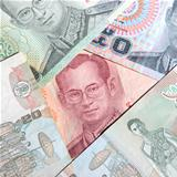Set of Thailand banknotes. 