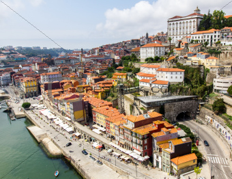 A view of Ancient city Porto, red roofs, tunel