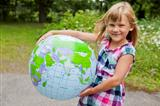 Girl holding an earth globe