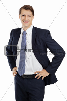 Happy young attractive businessman