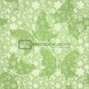 Green gentle floral pattern