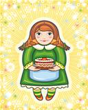 red-haired girl in a green dress with a pie in hands