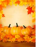 Pumpkins on wooden background with leaves  Autumn background  Vector
