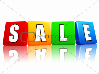 sale letters in color cubes